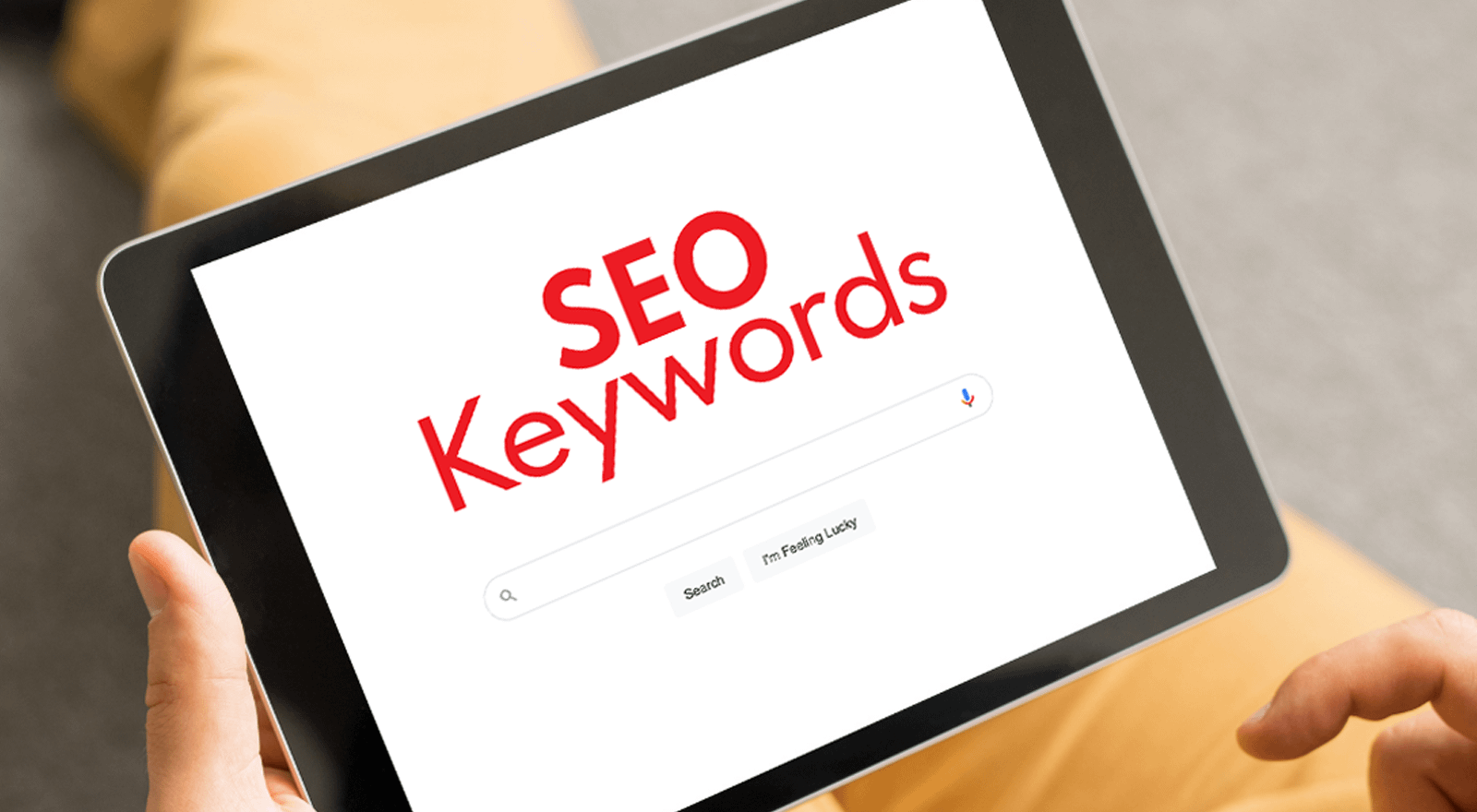 a table screen with the bold words SEO keywords - how to improve your seo with new content
