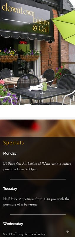 Downtown Bistro Burlington Restaurant Website Mobile Friendly