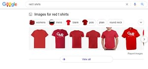 the series of red t-short images that are displayed in a Google search for 'Red Tshirts' illustrating the importance of image alt text.