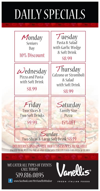 Mrs. Vanelli's Windsor Daily Specials