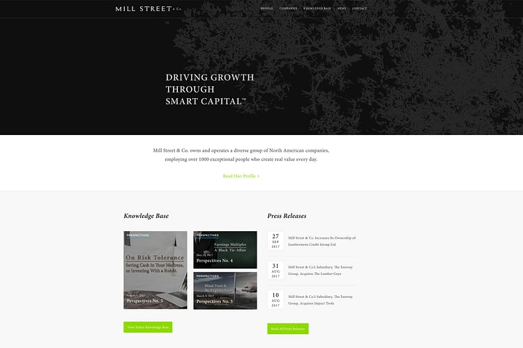 new website platform||mill street